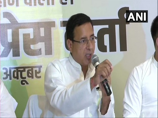Congress General Secretary Randeep Singh Surjewala during a press conference in Patna on Saturday. (Photo/ANI)