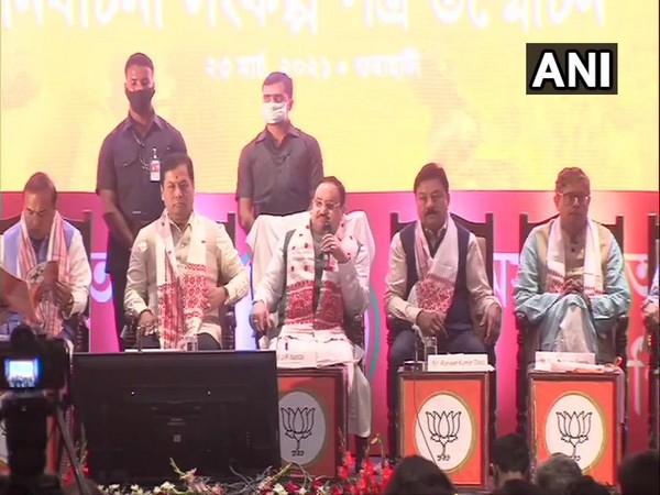 BJP National President JP Nadda along with other senior BJP leaders at manifesto release event.(Photo/ ANI)