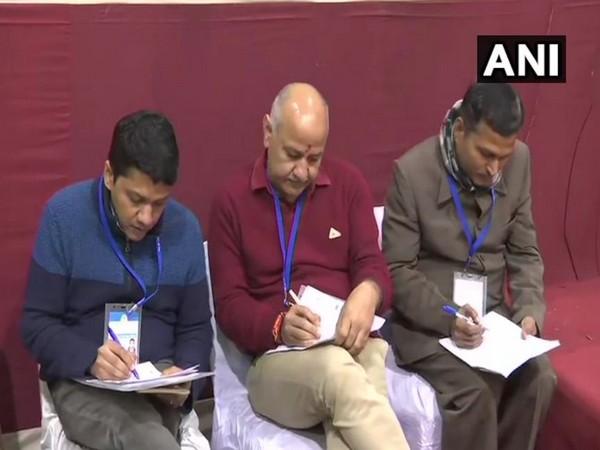 Manish Sisodia present at the Akshardham counting centre in Delhi. Photo/ANI