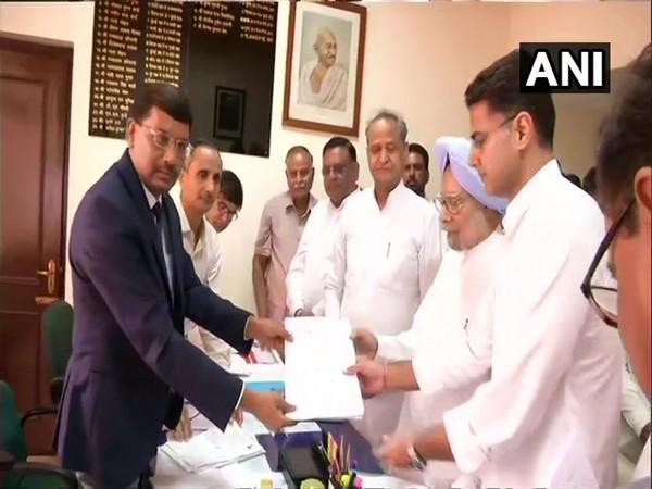 Former PM Manmohan Singh filling nomination in Jaipur, Rajasthan.