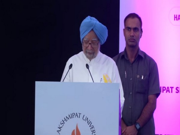Former Prime Minister Manmohan Singh addressing students at Laxmipat University, Jaipur, Rajasthan on Saturday. Photo/ANI