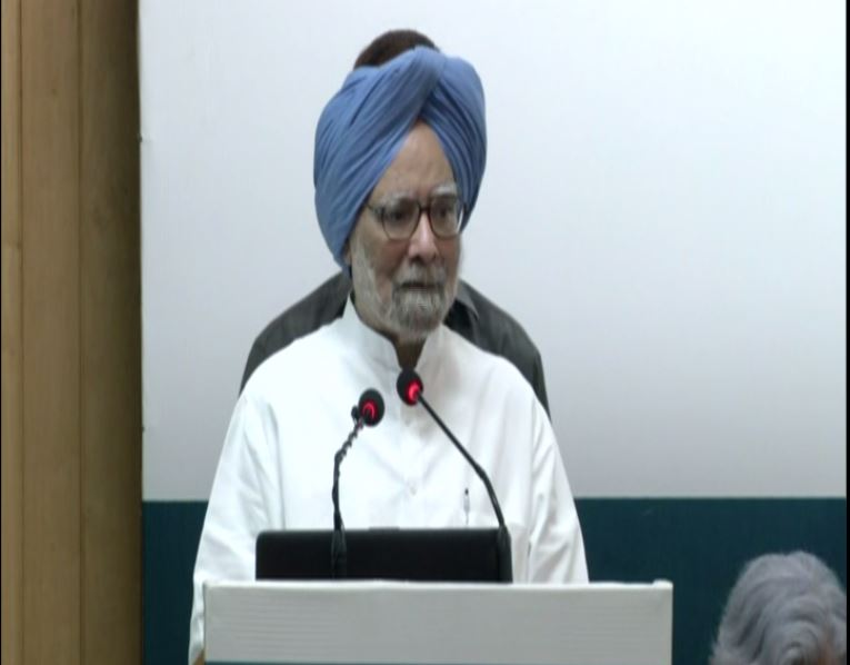 Former Prime Minister Manmohan Singh in New Delhi on Saturday [Photo: ANI]