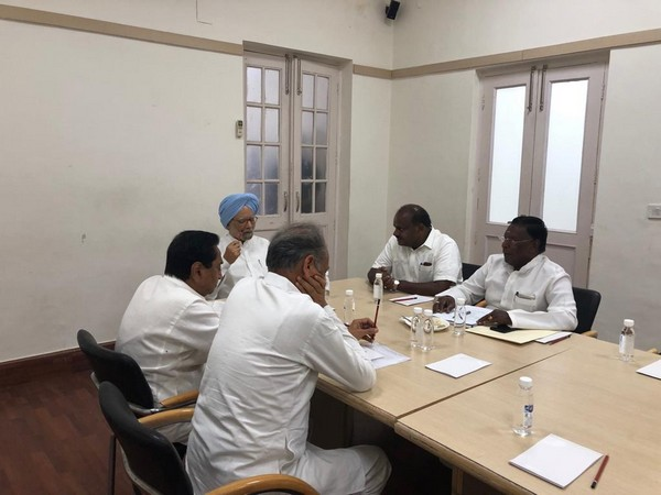 Visuals from the meeting called by former Prime Minister Manmohan Singh on Saturday. (Photo: ANI)