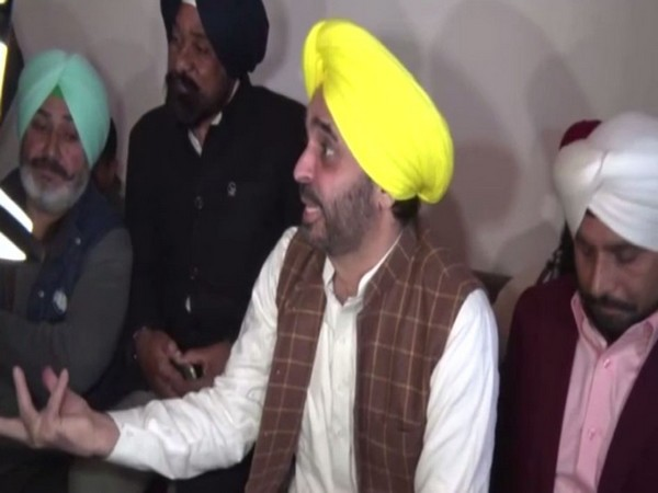 MP Bhagwant Mann at the press conference in Chandigarh.