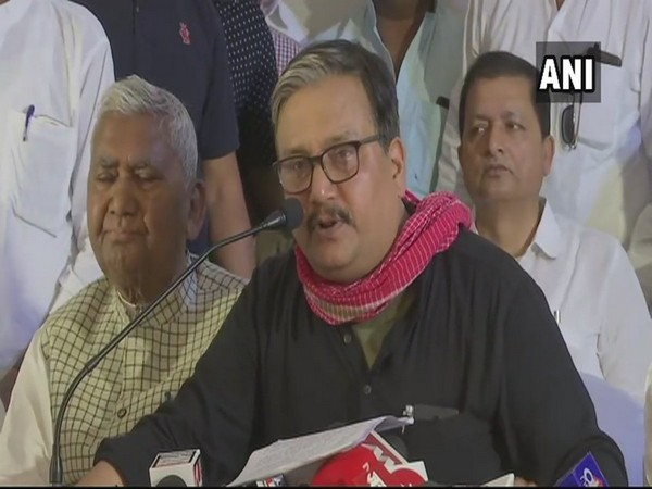 RJD leader Manoj Jha addressing a presser in Patna on Friday.