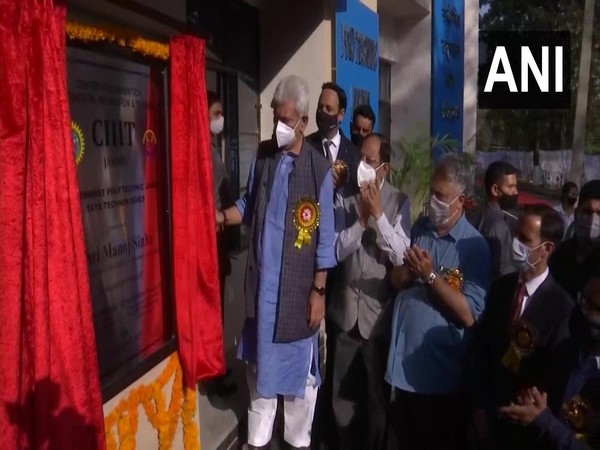 Jammu and Kashmir Lieutenant Governor Manoj Sinha inaugrates CIIIT in Government Polytechnic. (Photo/ ANI)
