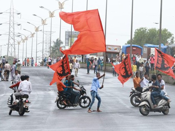 Maratha community members during demonstrations demanding quota last year. (File photo/ANI)