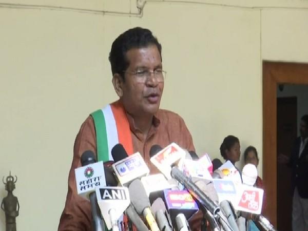 Chhattisgarh Pradesh Congress Committee (PCC) chief Mohan Markam speaking to media in Raipur on Tuesday.
