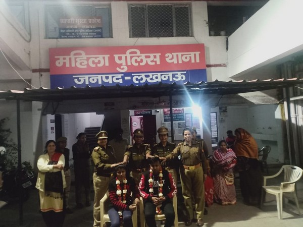 The couple post their marriage at the women police station in Lucknow on Monday. Photo/ANI