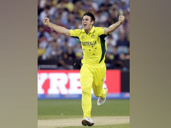 Mitchell Marsh celebrating after taking a wicket