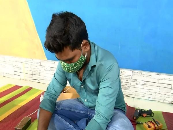Telangana youth Kunchala Shiva Nagaraju with his invention Photo ANI