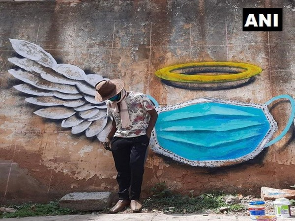 A visual of a painting made by the artist in Bengaluru, Karnataka. (Photo/ANI)