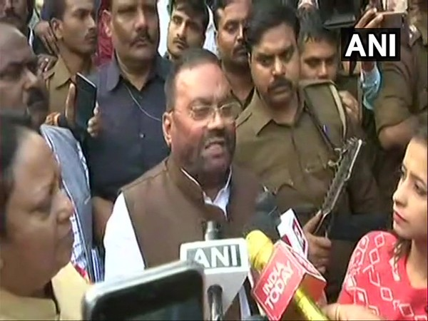 UP Minister Swami Prasad Maurya talking to media persons in Unnao on Saturday.