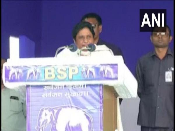 BSP chief Mayawati addressing election rally in Nagpur, Maharashtra on Monday.