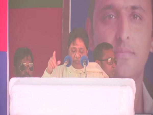 Bahujan Samaj Party president Mayawati at a rally in Jaunpur, Uttar Pradesh, on Tuesday. Photo/ANI