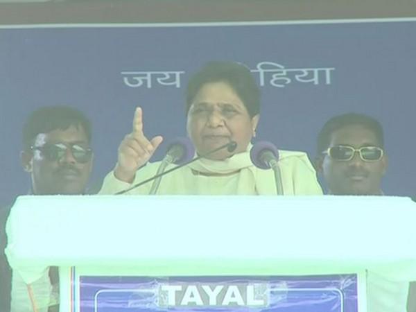 BSP chief Mayawati addressing an election rally at Mirzapur, Uttar Pradesh, on Friday. Photo/ANI