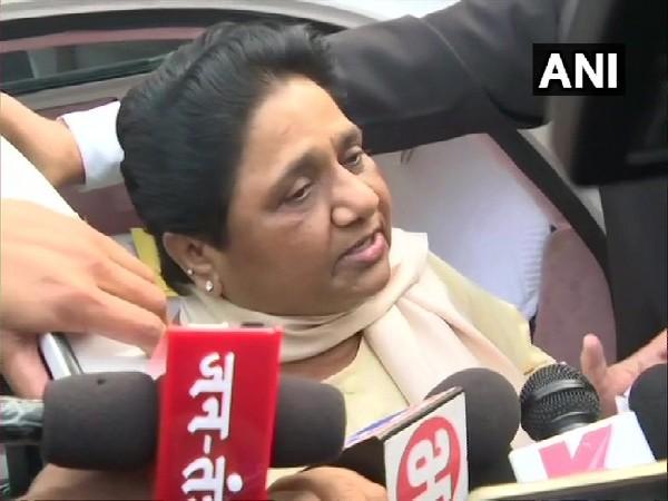 BSP chief Mayawati speaking to media in Lucknow, Uttar Pradesh on Saturday.