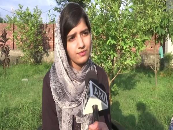 Irmim Shamim speaking to ANI in Rajouri, Jammu and Kashmir, on Sunday. Photo/ANI