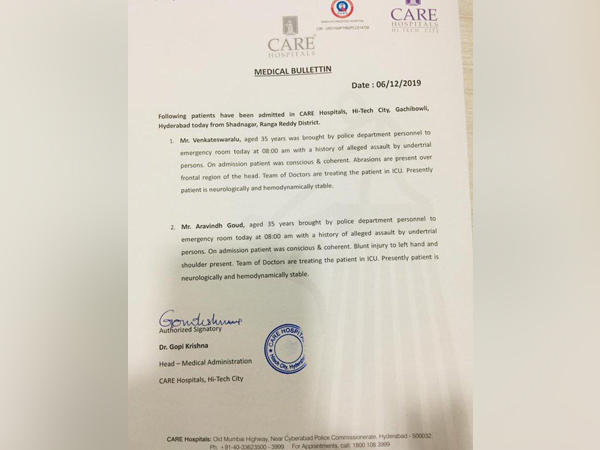 The medical bulletin of the two policemen who are under treatment in Hyderabad.