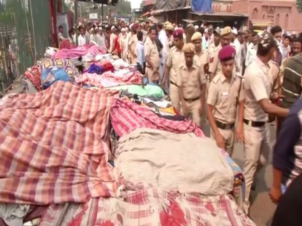 An anti-encroachment drive conducted at Meena Bazar on Saturday