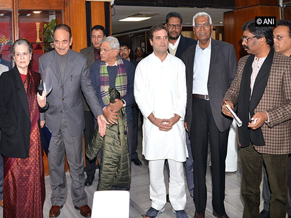 Opposition leaders after a meeting in New Delhi on Monday.