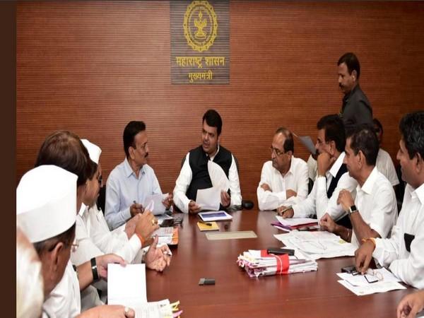 Maharashtra CM Devendra Fadnavis holds meeting with ministers and leaders in Mumbai. Photo/ANI