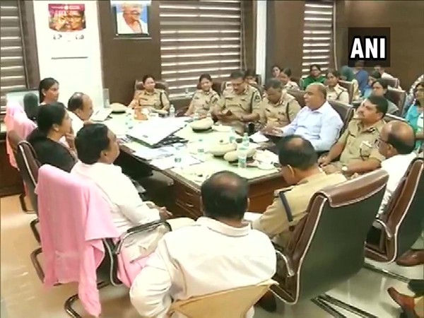 Home Minister Mohammed Mahmood Ali holding meeting at state Secretariat in Hyderabad. (Photo/ANI)