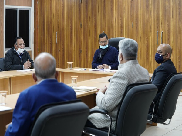 Delhi Chief Minister Arvind Kejriwal, PWD Minister Satyendar Jain holding a meeting with officials on Wednesday. (Photo/ANI)