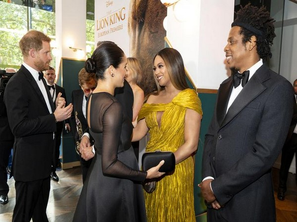 Prince Harry and Meghan Markle meet Beyonce and Jay-Z as they attend the premiere of 'The Lion King' in London