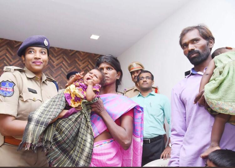 Visuals of child rescued with police.