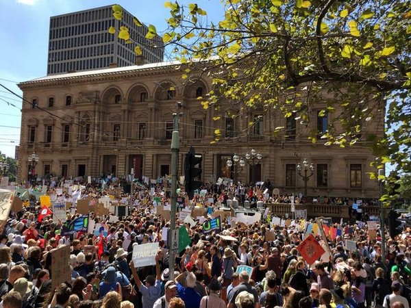 Students protesting against inaction over climate change in Melbourne, Australia on March 15