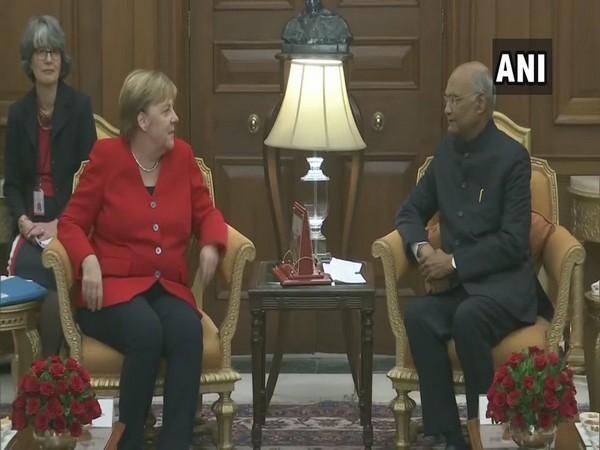 German Chancellor Angela Merkel met President Ram Nath Kovind in New Delhi on Friday.