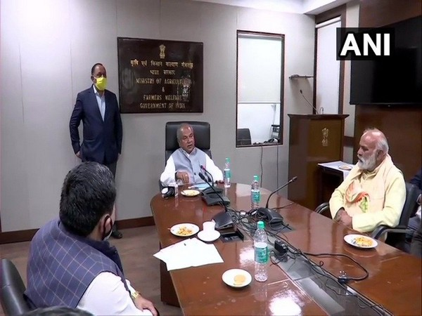 A visual of meeting between Union Agriculture Minister Narendra Singh Tomar and farmer leaders in New Delhi. (Photo/ANI)