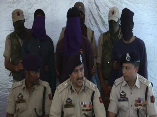 Jammu and Kashmir Police arrested three terrorists from Budgam district on Sunday. Photo/ANI