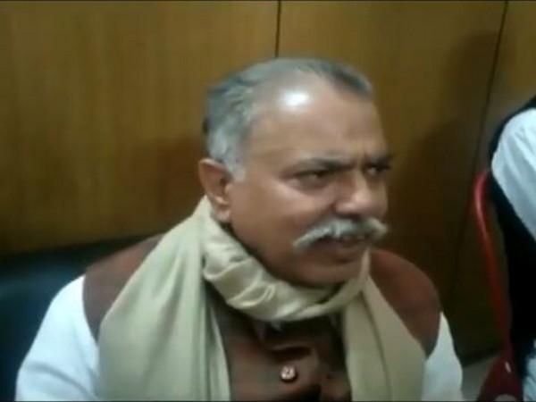 Uttar Pradesh minister Ranvendra Pratap Singh speaking to media persons in Barabaki.
