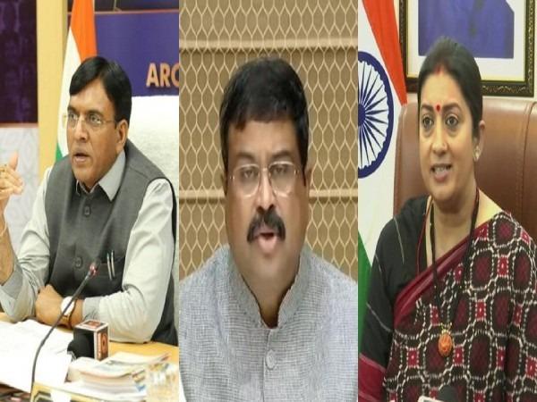 Union Ministers Mansukh Mandaviya, Dharmendra Pradhan and Smriti Irani (File Photos)