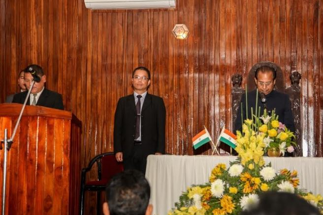 Oath-taking ceremony C. Lalsawta as the first Chairman of the new-constituted Lokayukta office at Durbar Hall in Mizoram on Tuesday. (Photo/ANI)