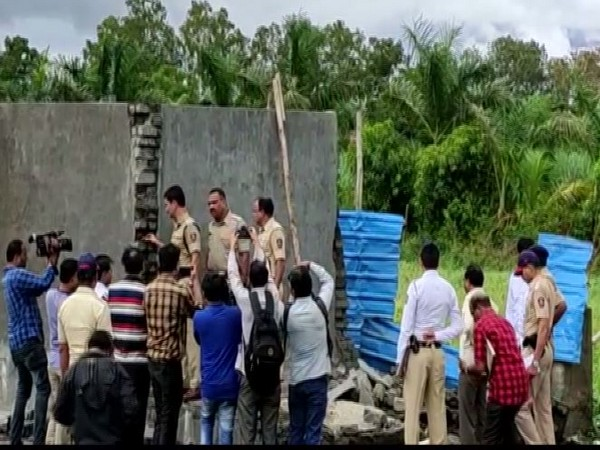 A water tank collapsed in Satpur area of Nashik on Tuesday. Photo/ANI