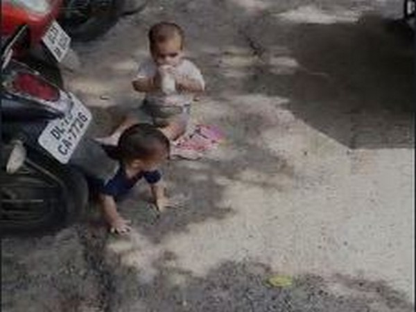 The two children abandoned at the Commissioner's office at 5 Shyamnath Marg.