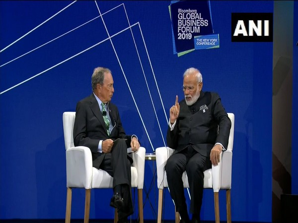 Prime Minister Narendra Modi at the Bloomberg Global Business Forum in New York on Wednesday (Photo/ANI)