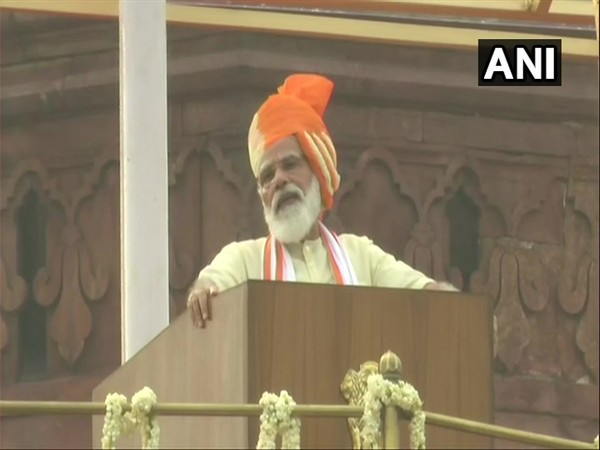Prime Minister Narendra Modi addressing the natin from ramparts of Red Fort. (Photo/ANI)