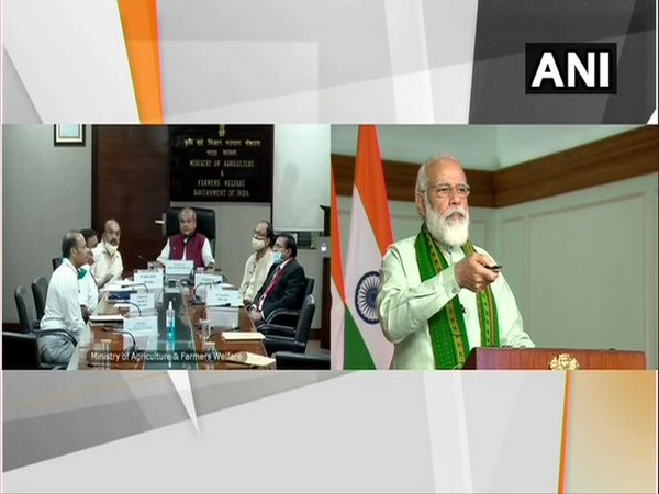 Prime Minister Narendra Modi launching financing facility under Agriculture Infrastructure Fund via video conferencing on Sunday. [Photo/ANI]