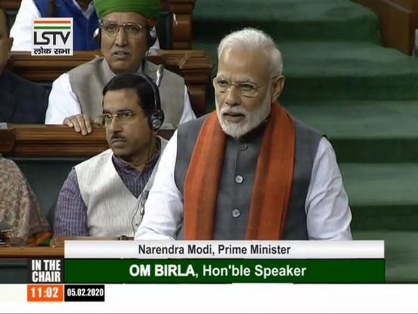 Prime Minister Narendra Modi speaking in Lok Sabha on Wednesday.
