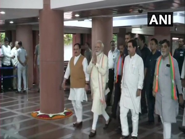 Visuals of Prime Minister Narendra Modi and other leaders leaving from Parliament Library Building after the second day of training programme 'Abhyas Varg'.