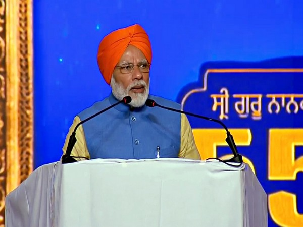 Prime Minister Narendra Modi addressing on the occasion of the inauguration of Kartarpur Sahib Corridor, at Dera Baba Nanak in Gurdaspur on November 9. (ANI Photo)