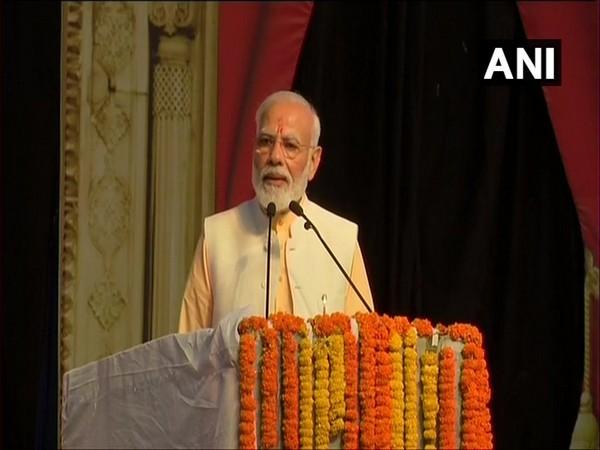 Prime Minister Narendra Modi speaking at the event in Dwarka, New Delhi.