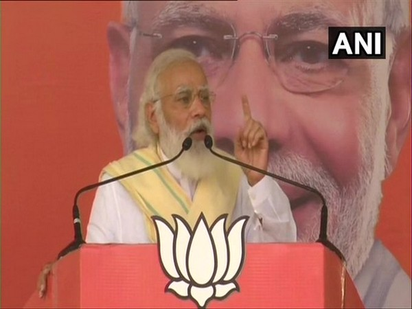 Prime Minister Narendra Modi addressing a rally in West Champaran on Sunday.