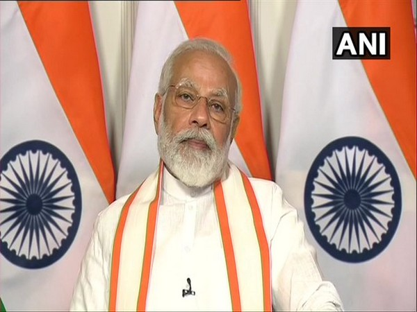 Prime Minister Narendra Modi addressing the annual session of Confederation of Indian Industry (CII) via video conference in New Delhi on Tuesday. [Photo/ANI]