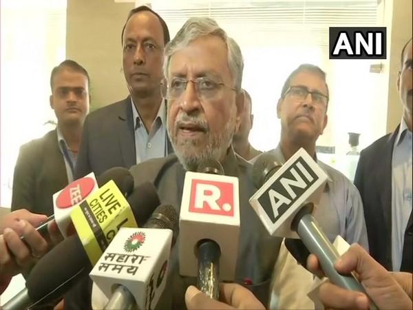 Bihar Deputy Chief Minister Sushil Modi speaking to reporters in Patna on Saturday.