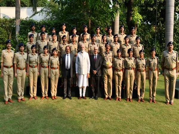 PM Modi with IPS probationers of 2018 batch on Wednesday here. Photo/ANI